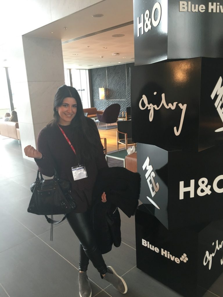 Sara visiting Ogilvy's London Offices in 2016.